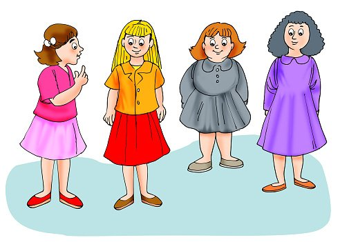 Group of girls Clipart Image.
