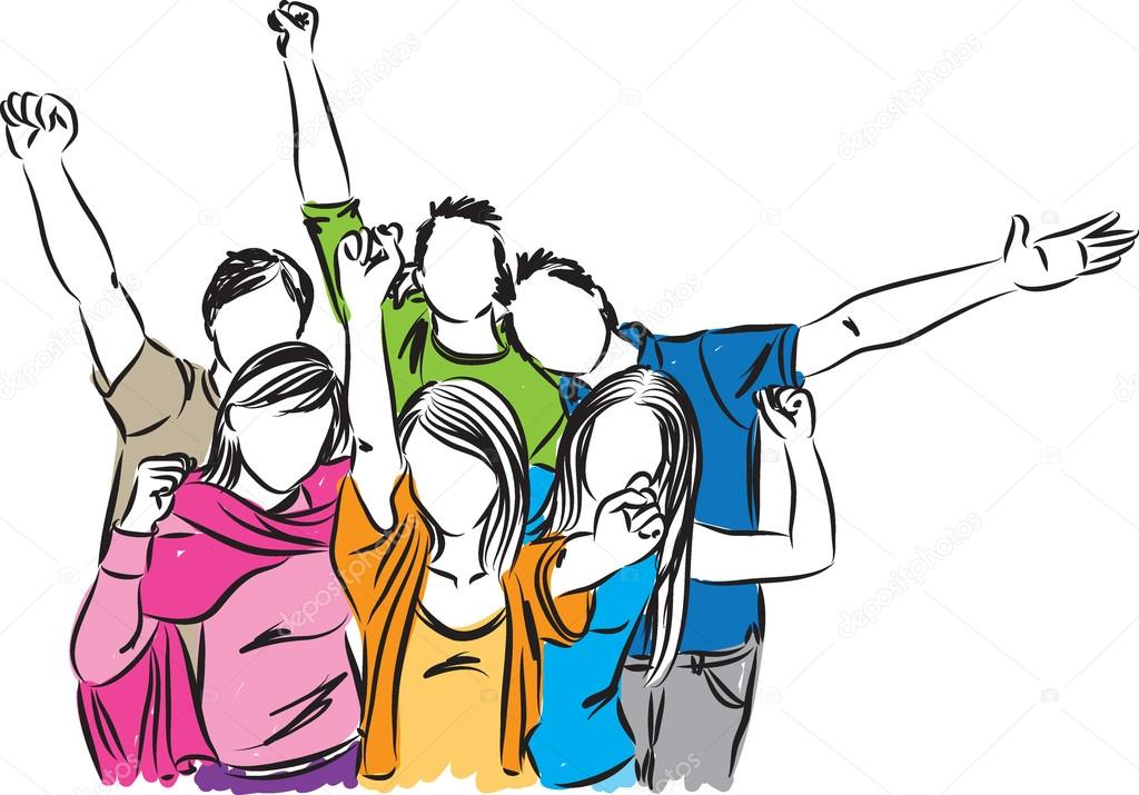 Happy Group Of People Clipart.