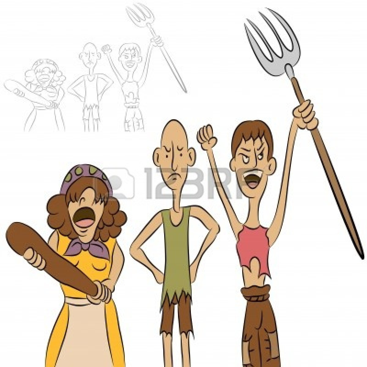 Clipart village woman old angry.