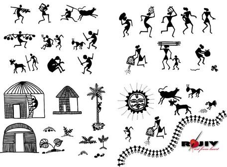 Indian Village Art, Clip Arts.