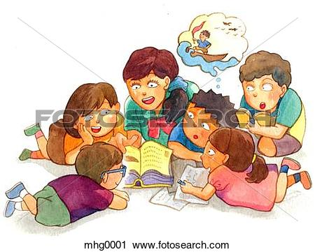 Clipart of A group of children gathering around reading stories.