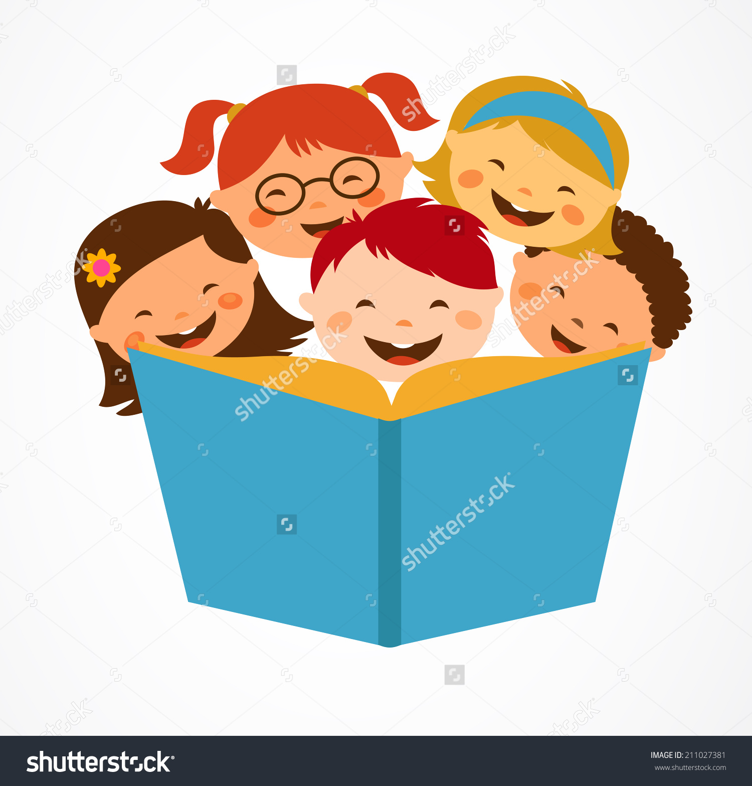 Group Children Enjoying Reading Together Stock Vector 211027381.