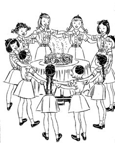 Girl Scout Flag Ceremony Vintage Line Art
