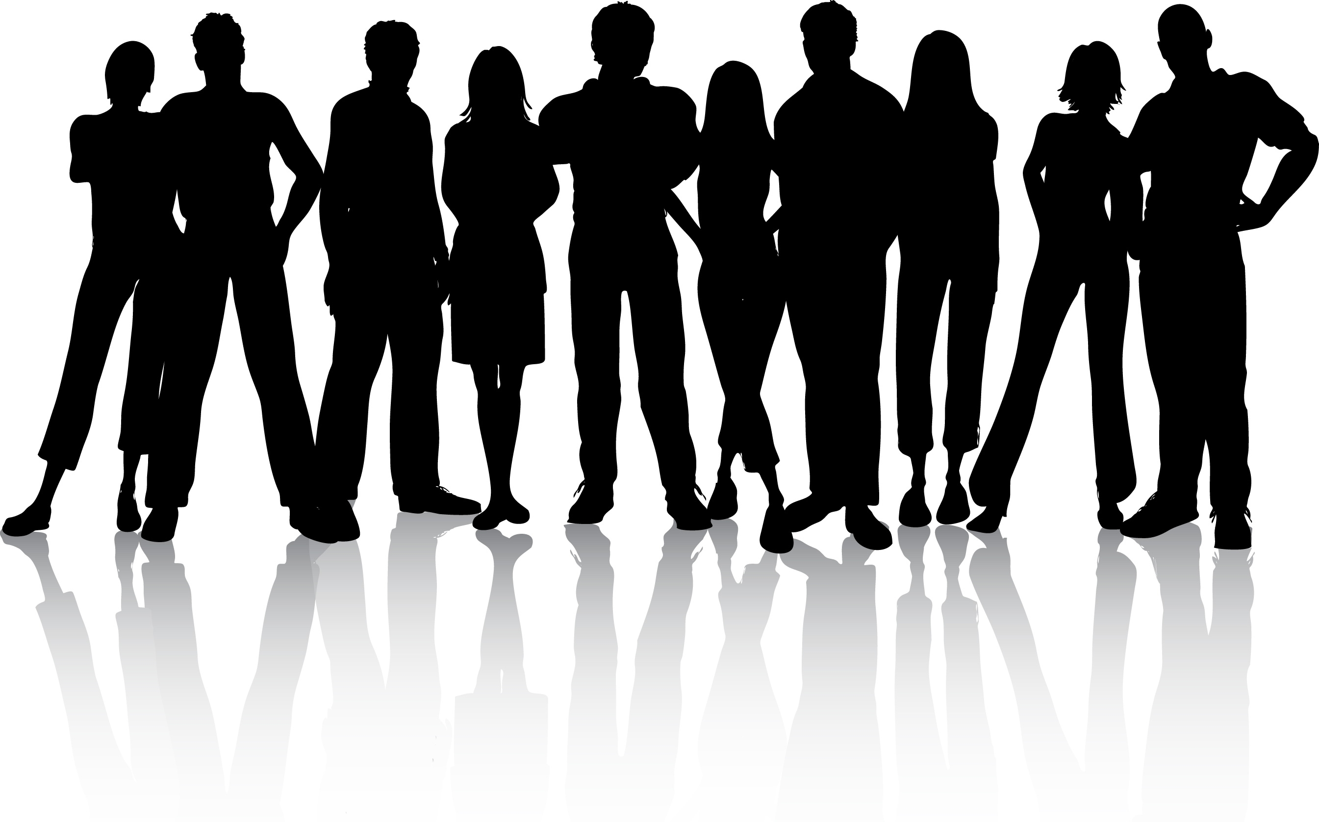 Diverse Group Of People Clipart Black And White.