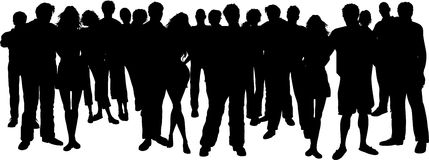 Group Of People Clipart Black And White.