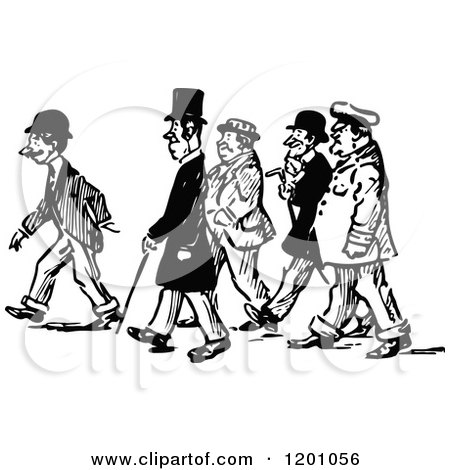 Clipart of a Vintage Black and White Group of Men Walking.