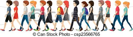 Clip Art Vector of A group of faceless people walking in line on a.