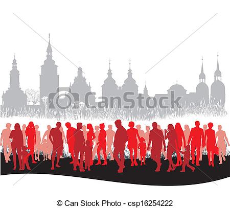 Vector Illustration of Group of people walking.