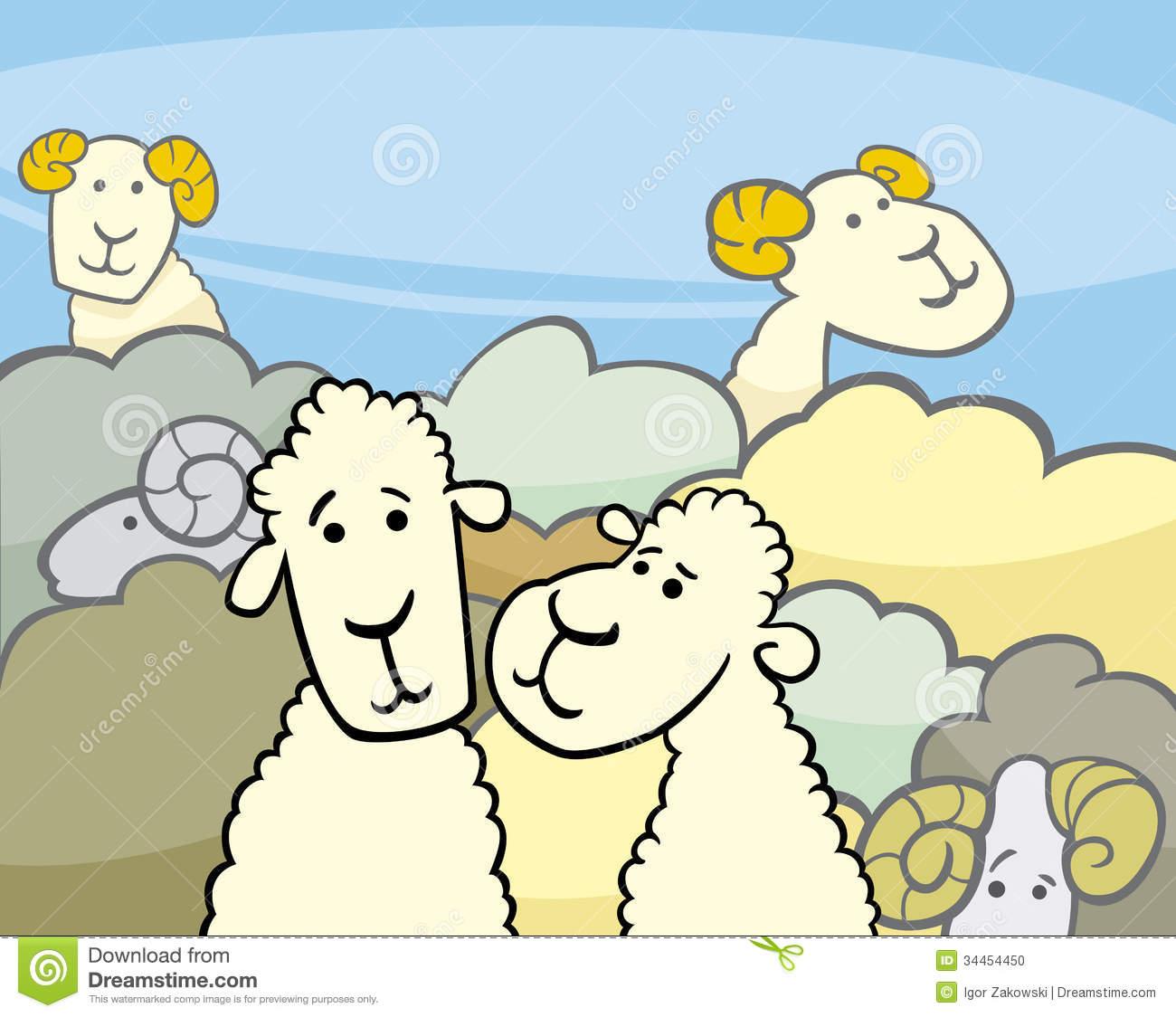 Flock Of Sheep Cartoon Illustration Stock Photo.