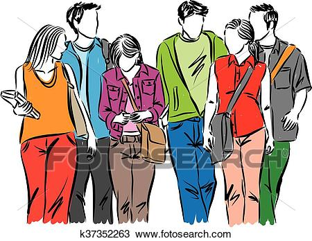 GROUP OF STUDENTS TEENAGERS walking Clipart.