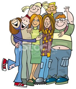 group of happy teenagers huging Clipart Image.