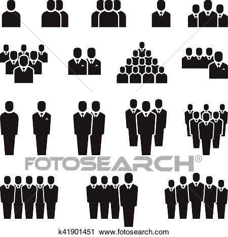 Business team, silhouette people, employee, group, crowd vector icons set  Clipart.