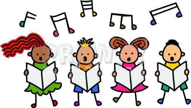 Diverse Group of Stick Kids Singing Clip Art.