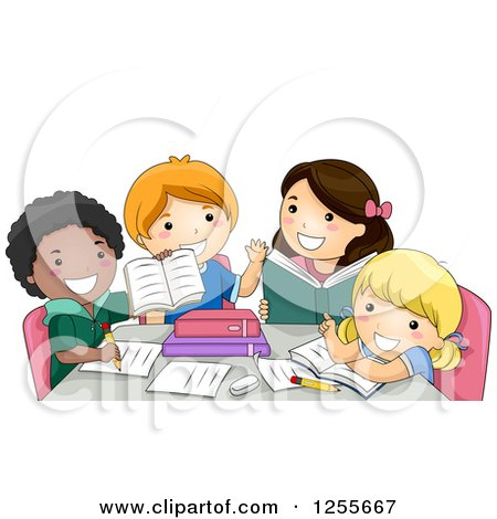 Clipart of Black and White School Children in a Group Study.