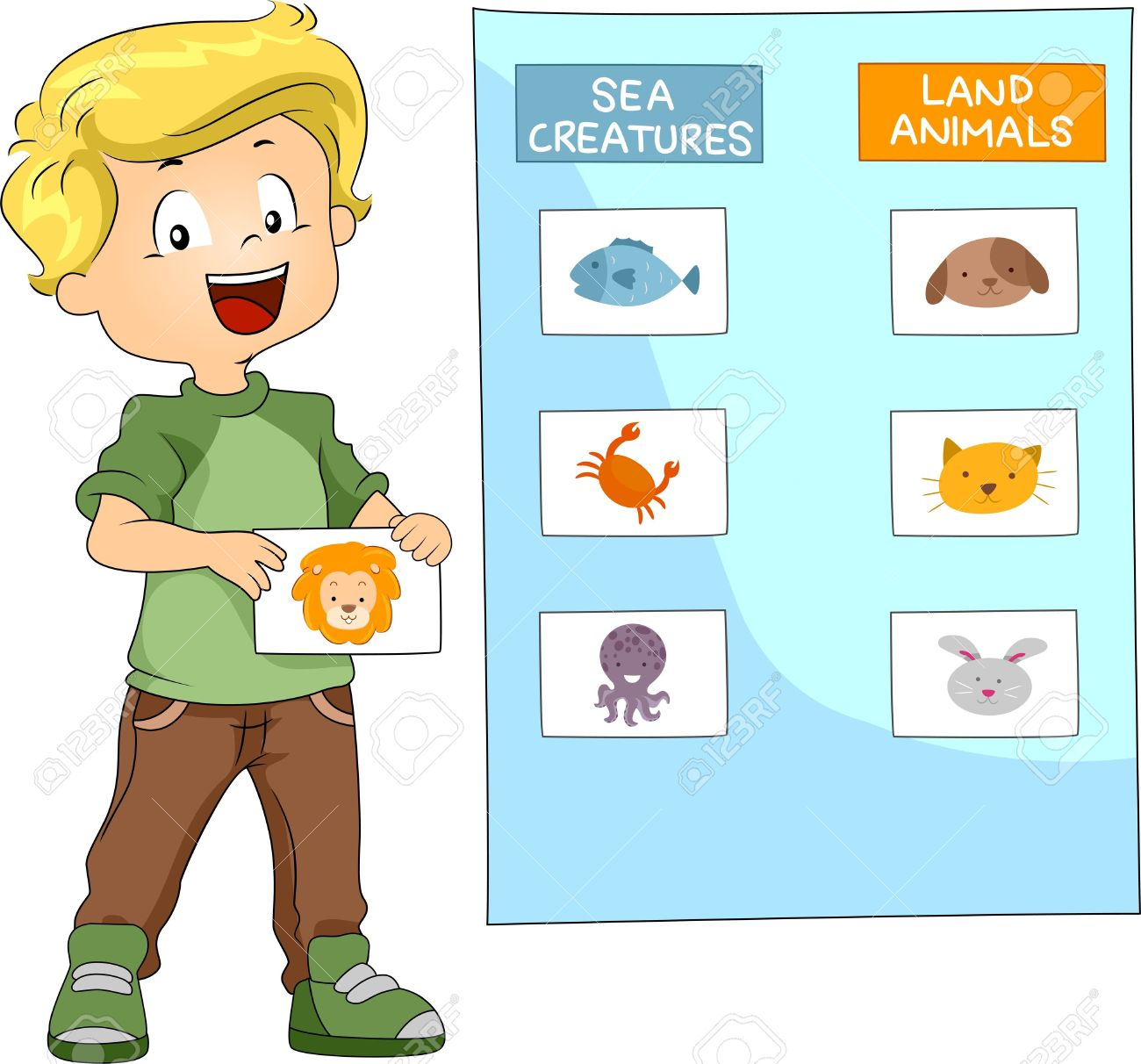 Illustration Of A Kid Grouping Animals Together Stock Photo.