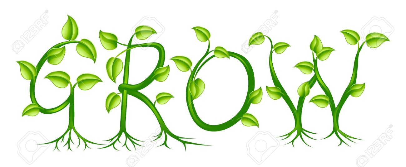 The Word Grow Spelled Out With A Plant Or Vines With Leaves.