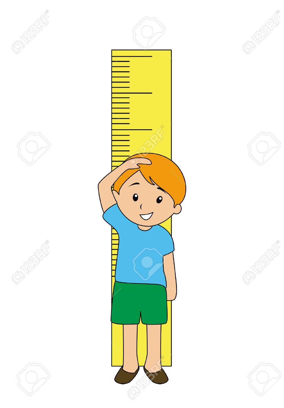 Boy measuring height clipart.