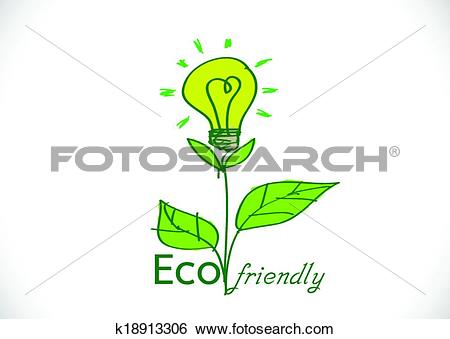 Clip Art of Eco friendly light bulb plant growi k18913306.