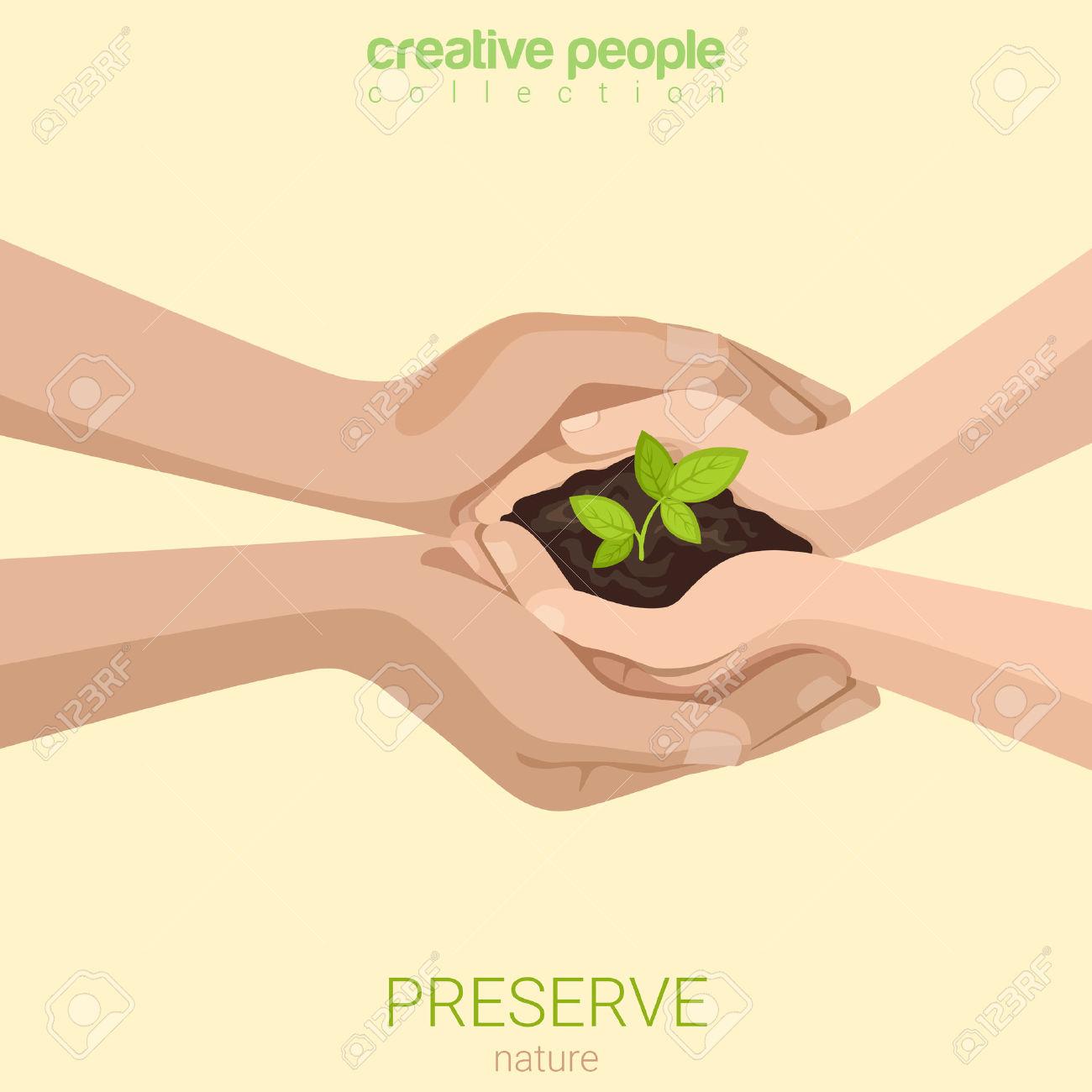 Flat Style Preserve Save Nature Ecology Insurance Concept Web.