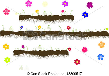 Vector Clip Art of Vector with ground with roots,growing grass.