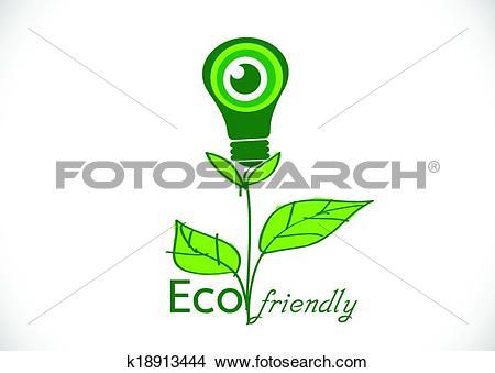 Clipart of Eco friendly light bulb plant growi k18913444.