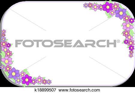 Clip Art of Corner frame made of lavender flowe k18899507.