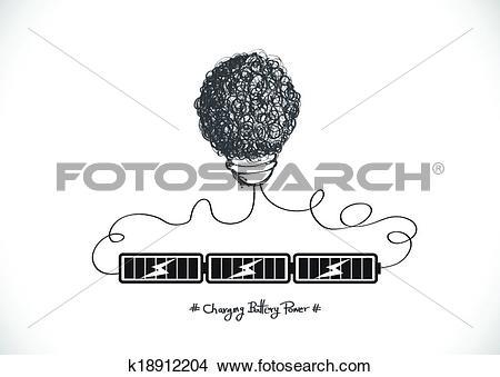 Clipart of Eco friendly light bulb plant growi k18912204.