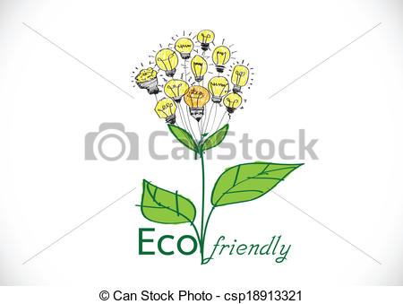 Vector Illustration of Eco friendly light bulb plant growing green.