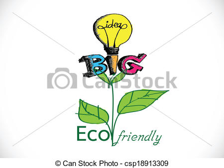 Vector Clipart of Eco friendly light bulb plant growing green eco.