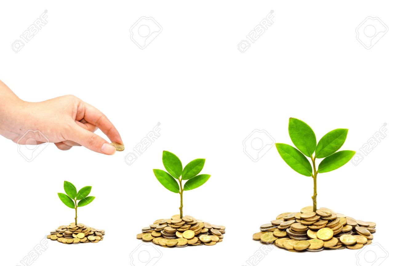 Hand Giving A Golden Coin To Trees Growing On Piles Of Coins.