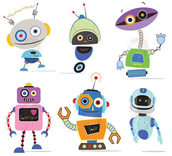 Robots Clipart VECTOR Clip Art Cute Robots Party Little Birthday.