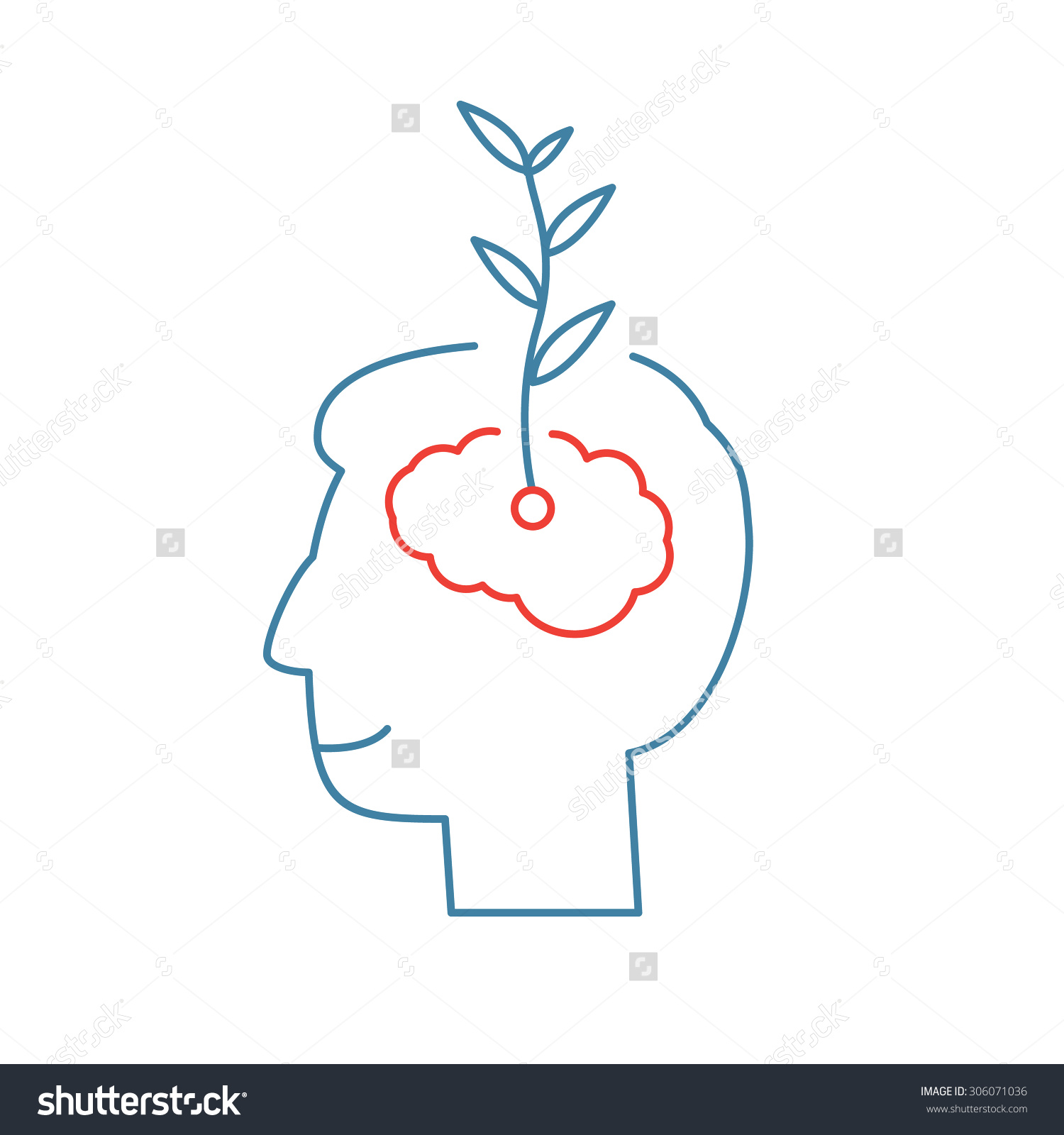 Vector Growth Mindset Skills Icon Growing Plant From The Brain.