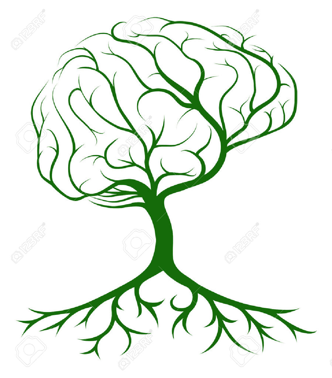 Brain Tree Concept Of A Tree Growing In The Shape Of A Human.