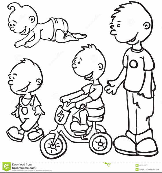 Children Growing Up Clipart.