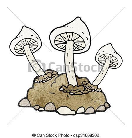 Vector Clipart of textured cartoon mushrooms growing.