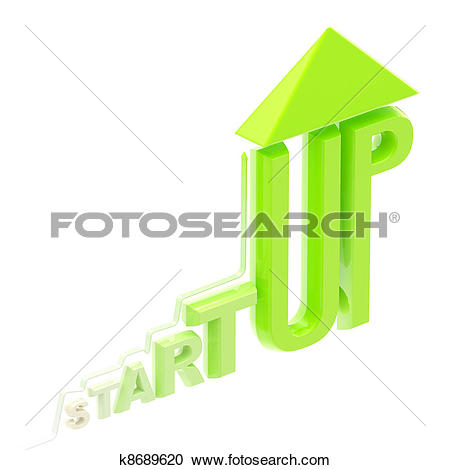 Stock Illustrations of Startup word made as a growing stock graph.