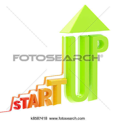 Stock Illustration of Startup word made as a growing stock graph.