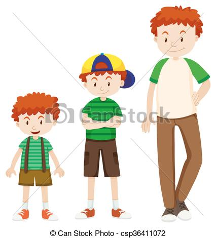 Vectors Illustration of Boy growing up to man illustration.