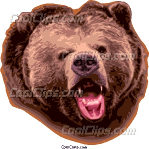 Growling grizzly bear Vector Clip art.