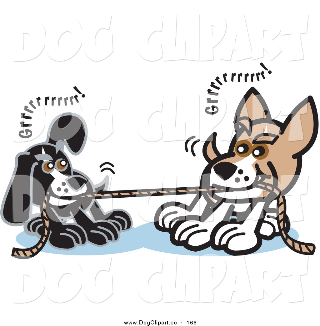 Vector Clip Art of a Pair of Dogs Growling While Playing Tug of War.