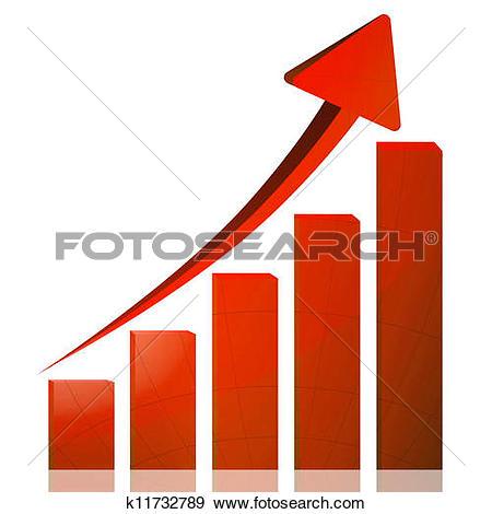 Clipart of Business graph growth blue arrow k11732811.