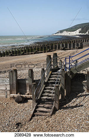 Pictures of Wooden steps, groynes and pebble beach; sussex.