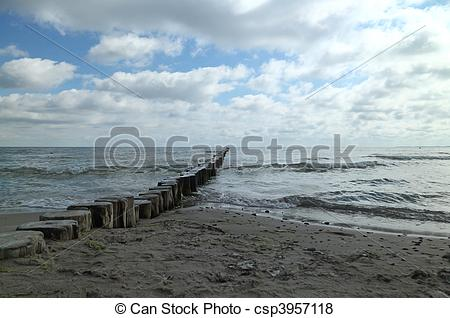 Pictures of Beach with wooden groynes.