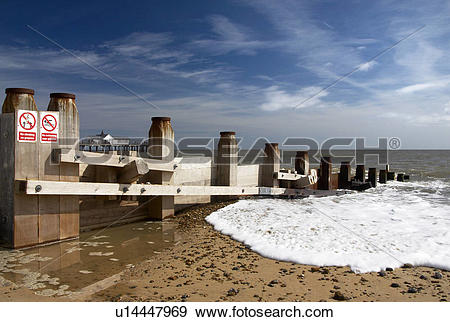 Stock Photograph of England, Suffolk, Southwold, Groynes on.