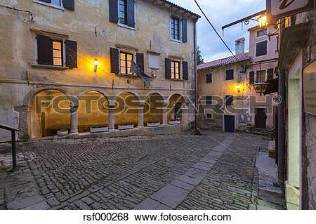 Pictures of Croatia, Istria, artists's village Groznjan, evening.