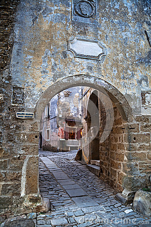 Old Alley In Groznjan, Croatia Stock Photos.