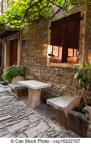 Stock Images of A stone house in Istria, Groznjan, Croatia.