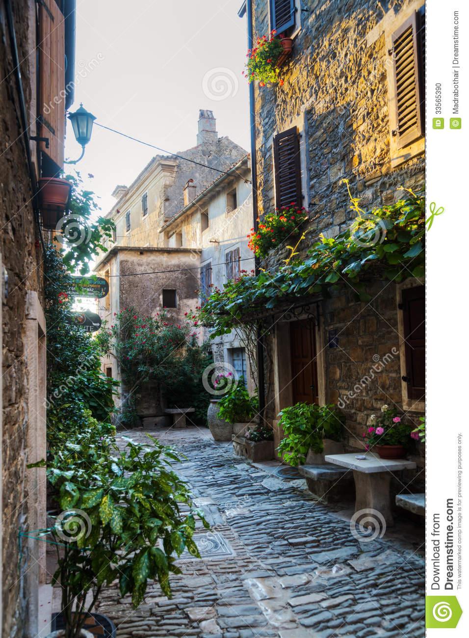 Old Alley In Groznjan, Croatia Stock Photo.