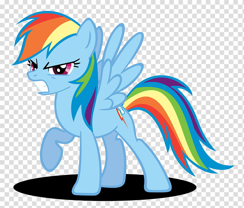 Rainbow Dash Grrr Face, blue My Little Pony transparent.
