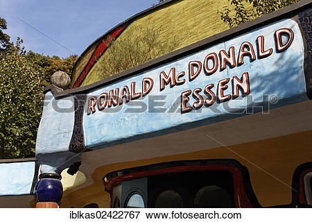 Picture of Ronald McDonald lettering on the Hundertwasser House.